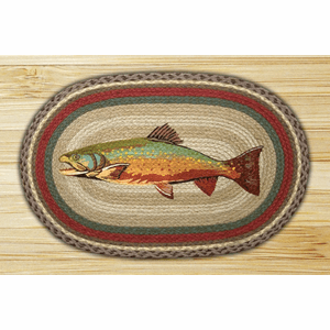 Earth Rugs® Trout Oval Braided Rug