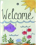 Fish Welcome Garden Stake Tile