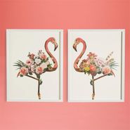 Flamingo Floral Collage Wall Art - S/2