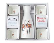 Flamingos Boxed Sake Set (square cups)