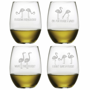 Flocking Flamingo Stemless Wine Glasses - S/4