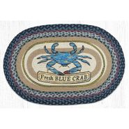 Fresh Blue Crab Oval Patch Braided Rug