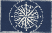 Front Porch Compass Navy Rug