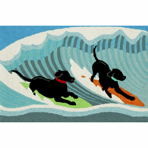 Front Porch Surfing Dogs Ocean Rug