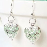 Genuine Sea Glass Heart Locket Earrings