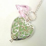 Genuine Sea Glass Heart Locket Necklace
