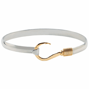 Gold Wrap Titanium Fish Hook Bracelet (6mm)