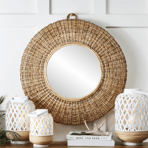 Hand-Crafted Woven Cane Wall Mirror
