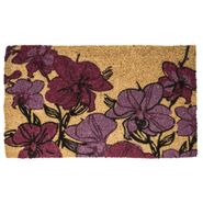 Hand Drawn Orchids Handwoven Coconut Fiber Door Mat