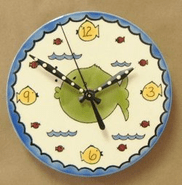 Handpainted Fish Clock