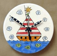 Handpainted Sailboat Clock