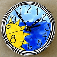Handpainted Sun and Water Clock