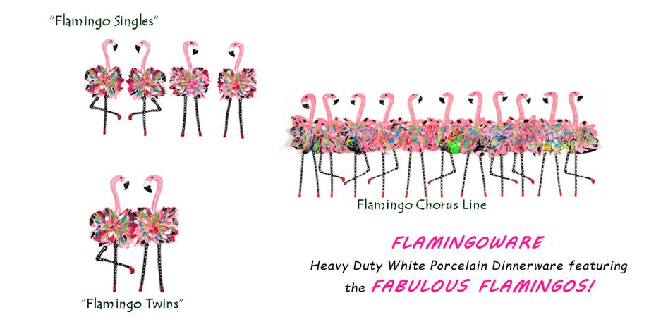 White porcelain Dinnerware featuring the Fabulous Flamingos!
