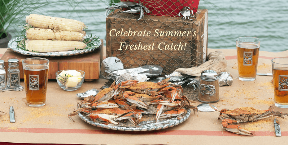 Crab Pewter Glassware Collection