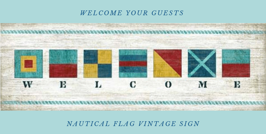 Nautical Flag Vintage Welcome Sign