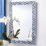 Indigo Chevron Wall Mirror