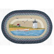 Lighthouse & Boat Oval Patch Braided Rug
