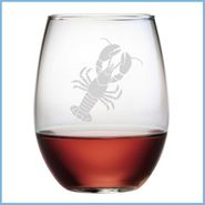 Lobster Etched Glassware