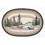 Loon on Lake Oval Patch Braided Rug