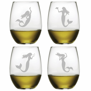 Mermaid Assortment Stemless Wine Glasses - S/4