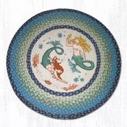 Mermaids Round Patch Braided Rug
