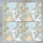 Nautical Chart Coaster Set
