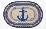 Navy Anchor Oval Patch Braided Rug