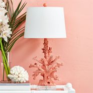 Pink Coral Table Lamp with Linen Shade