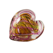 Pink Hearts of Fire Paperweight