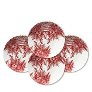 Poinsettia Coupe Accent Plates Boxed S/4
