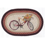 Red Bicycle Oval Patch Braided Rug