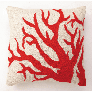 Red Coral Hooked Pillow
