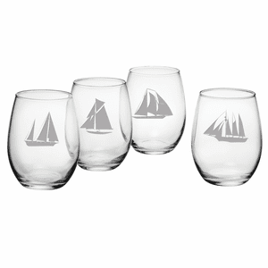 Regatta Assortment Stemless Wine Glasses - S/4