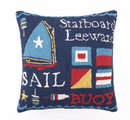 Sail II Hooked Pillow