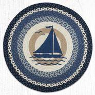 Sailboat Round Patch Braided Rug