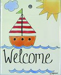 Sailboat Welcome Garden Stake Tile