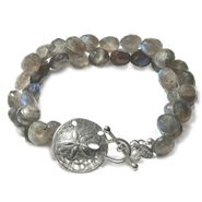 Sand Dollar Toggle Bracelet with Gemstones