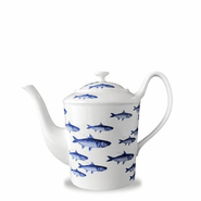 School of Fish Blue 40 oz. Tall Teapot