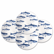 School of Fish Blue 8.5'' Accent Plates Boxed (setof 4)