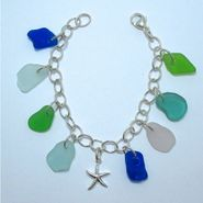 Sea Star and Sea Glass Charm Bracelet
