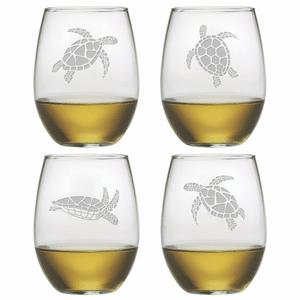 Sea Turtles Stemless Wine Glasses - S/4