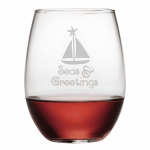 Seas & Greetings Stemless Wine Glasses - S/4