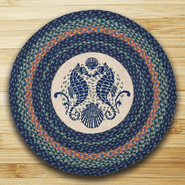 Shell Coast Seahorse Round Patch Braided Rug