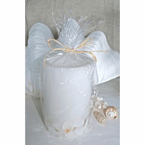Shell Inlaid Hurricane Candle