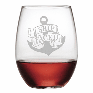 Ship Faced Stemless Wine Glasses - S/4