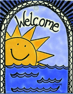 Summer Welcome Garden Stake Tile