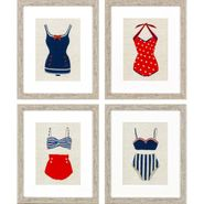 Vintage Swimsuit Wall Art S/4