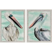 Turquoise Pelican Wall Art - S/2