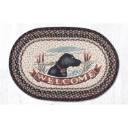 Welcome Dog Oval Patch Braided Rug