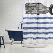 Whale Sketch Shower Curtain - Cobalt
